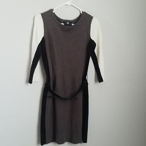 Mid length sleeve color block sweater dress